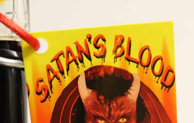 Satans Blood Hot Sauce tag