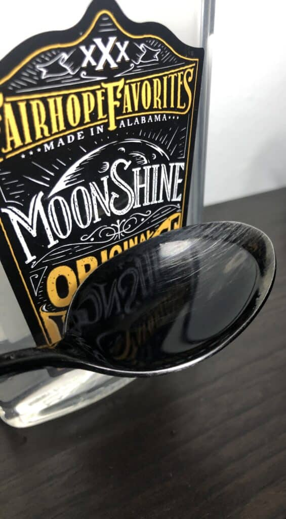 Fairhope Favorite's Original-Moonshine Hot Sauce on Spoon