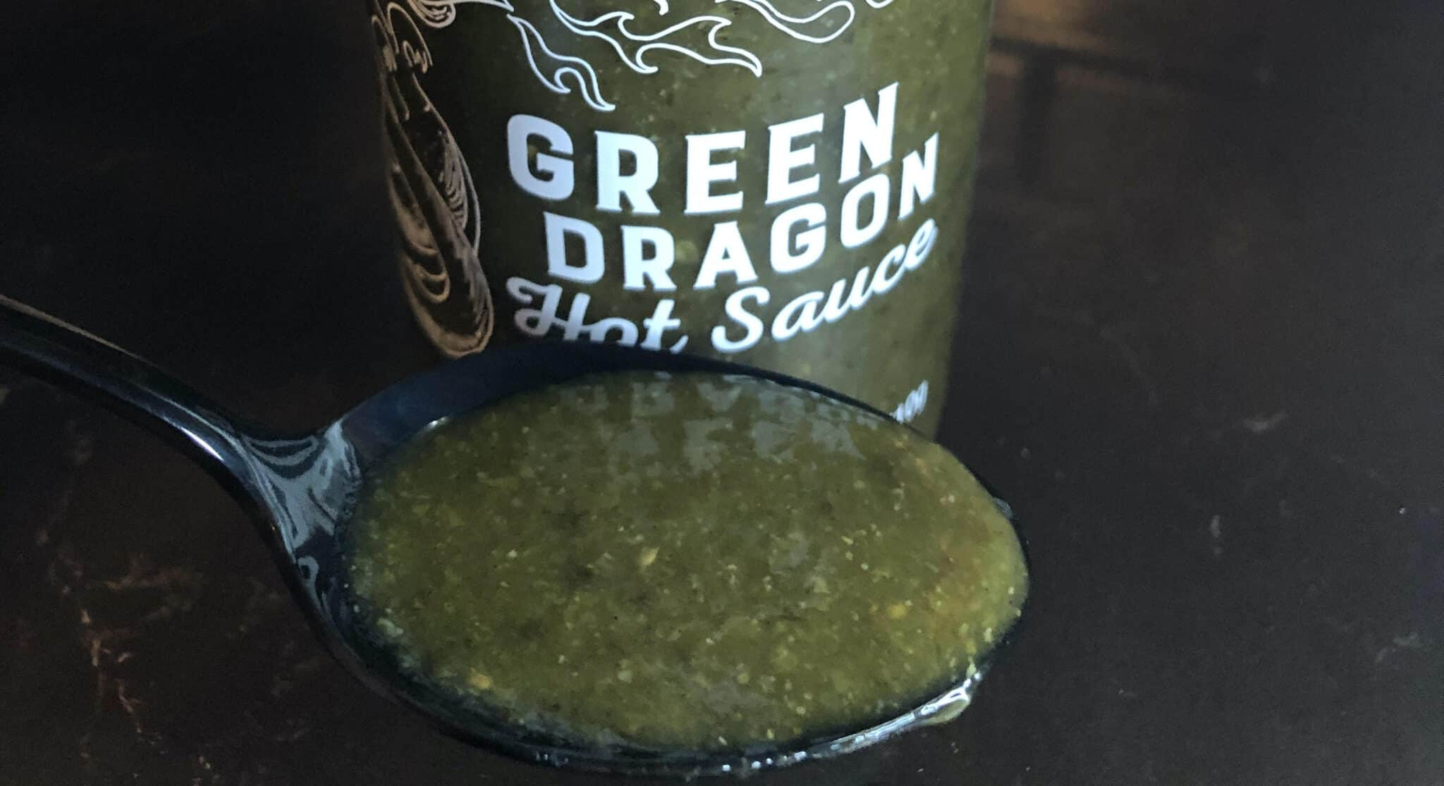 Trader Joes Green Dragon Hot Sauce In Spoon