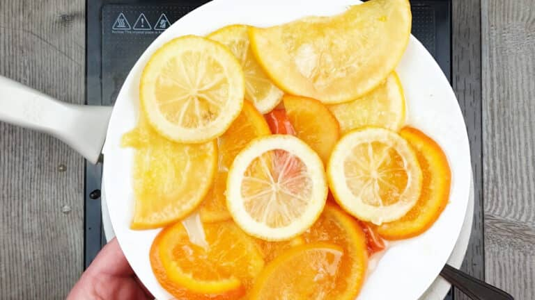Spicy candied citrus fruit_in pan