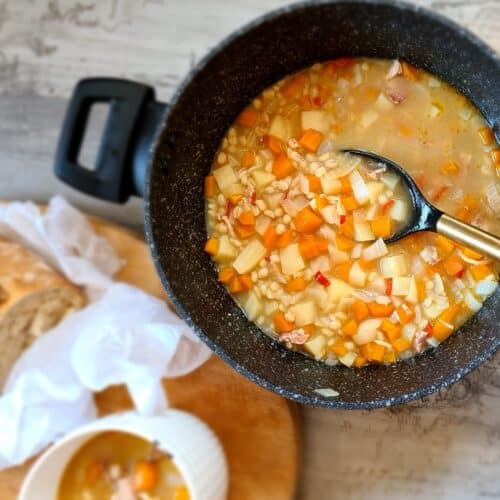 Spicy Scotch broth soup in a pot