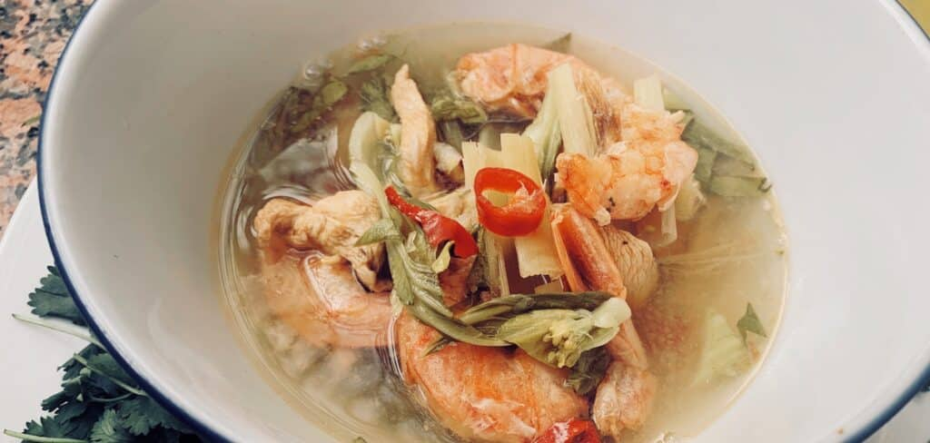 Hearty tom yum soup in a bowl