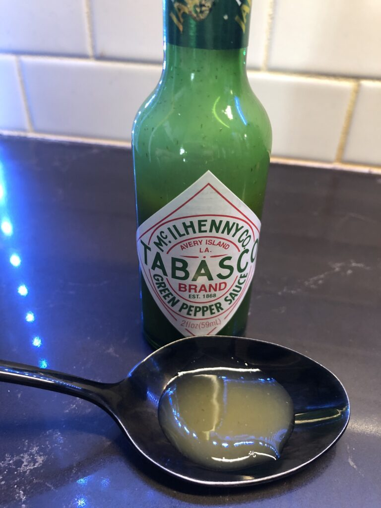 Tabasco Green Pepper Sauce on a spoon