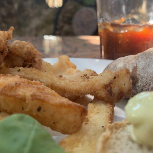 Pan-fried calamari with rich chili jelly