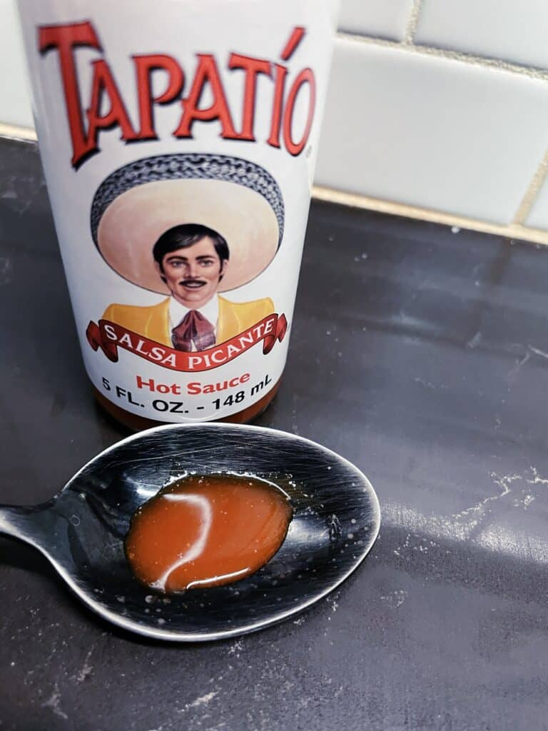 Tapatio Hot Sauce on a spoon
