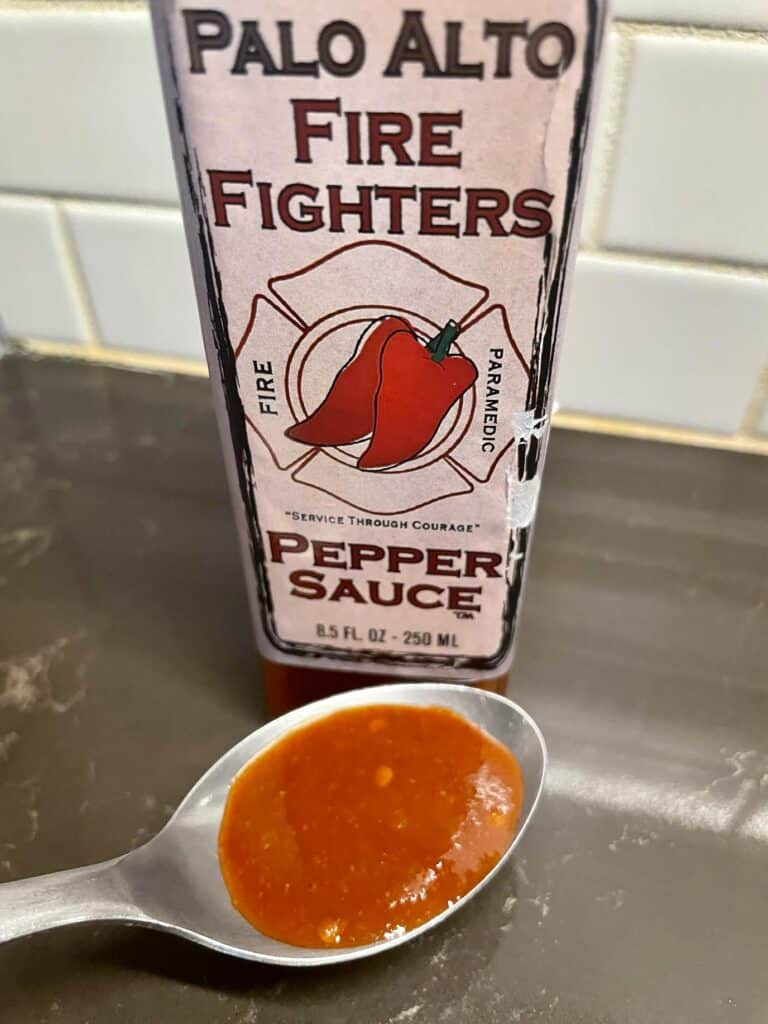 Palo Alto Firefighters Pepper Sauce on a spoon