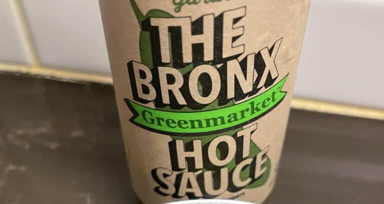 The Bronx Greenmarket Hot Sauce label