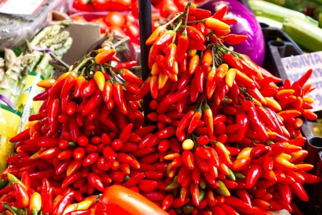 Fresh Calabrian peppers at the market