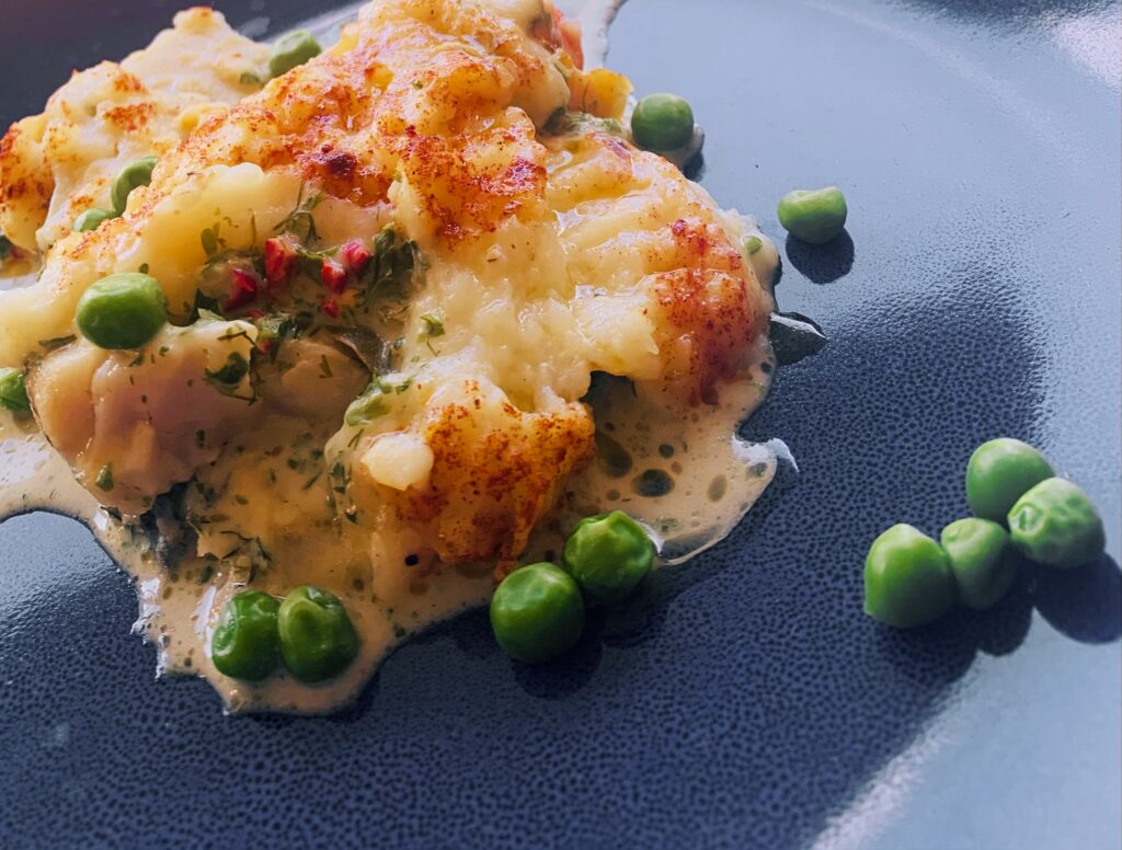 Creamy seafood gratin