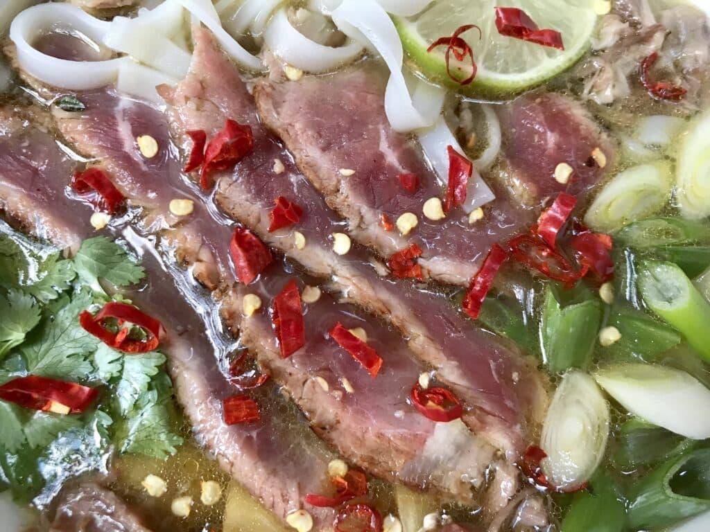 Spicy Pho Bo close-up