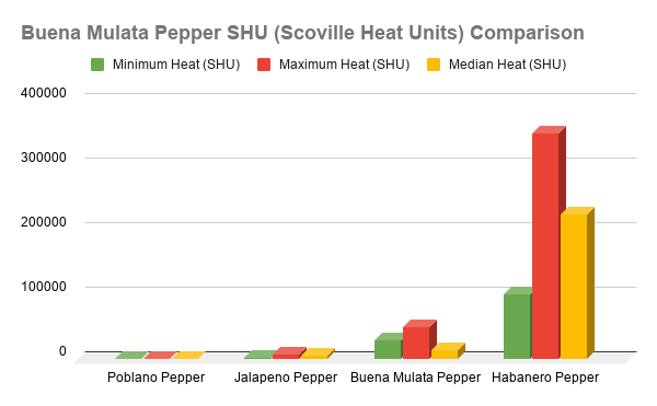 Buena Mulata Pepper SHU Heat Comparison