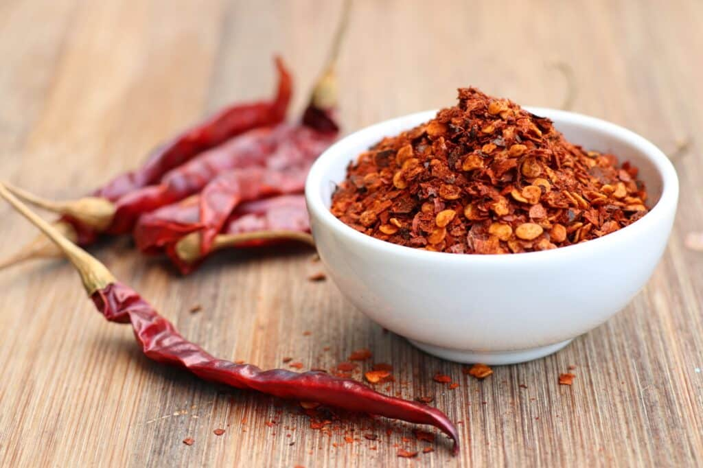 Dried cayenne pepper and red pepper flakes