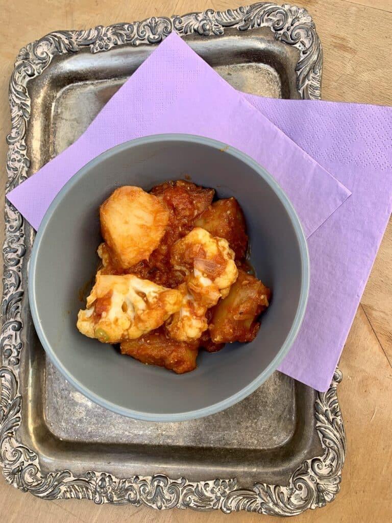 Aloo gobi curry plated