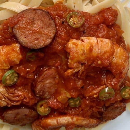 Chorizo and shrimp fettuccine with pomodoro sauce