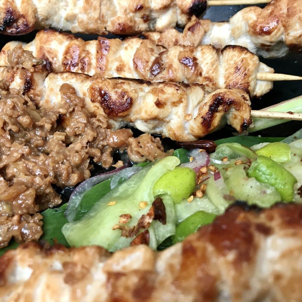 Chicken Satay with Peanut Sauce Close-up