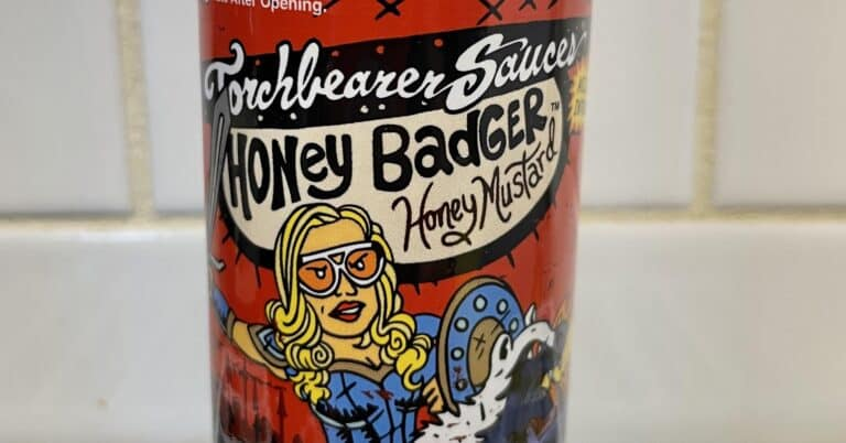 Torchbearer Honey Badger Hot Sauce label
