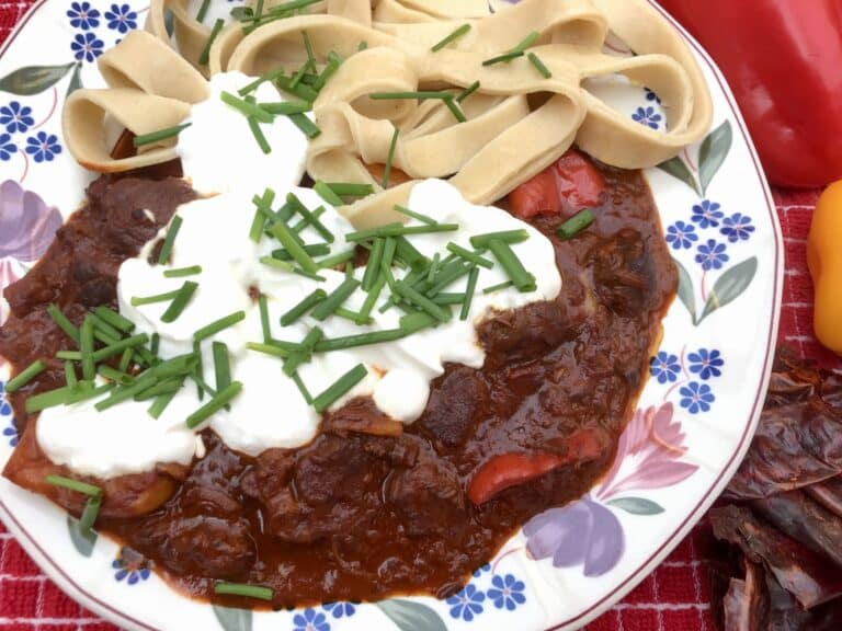 Hungarian goulash with homemade butter noodles