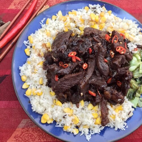 Indonesian Braised Beef With Spiced Rice (Dendeng Sapi Manis)