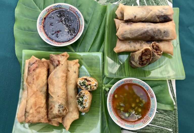 Spring rolls (pork, vegetable) with two spicy sauces